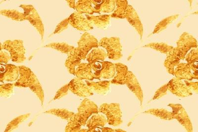 Golden Rose, Hand-Drawn Flower, Floral Ornament Ethnic, Painted with Watercolors Isolated on White,