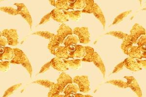 Golden Rose, Hand-Drawn Flower, Floral Ornament Ethnic, Painted with Watercolors Isolated on White, by Rasveta