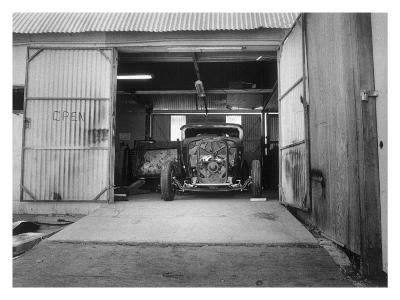 Rat Rod, Work Shop Garage-David Perry-Giclee Print
