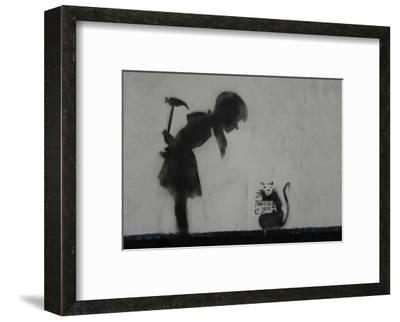 Rat-Banksy-Framed Art Print