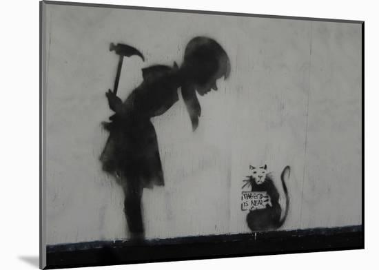 Rat-Banksy-Mounted Art Print