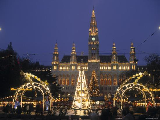 Christmas In Austria.Rathaus At Christmas Vienna Austria Photographic Print By Alan Copson Art Com