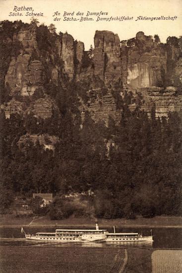 Rathen Sächs. Schweiz, Dampfer Dresden, Felsen--Giclee Print
