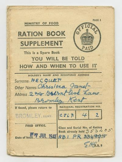 Ration Book for Christina Hecquet, Bromley, Kent, 1941--Giclee Print