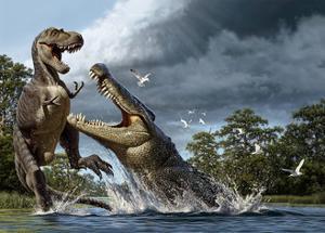 A Deinosuchus, an Alligator Ancestor, Lunges at an Albertosaurus by Raul D. Martin