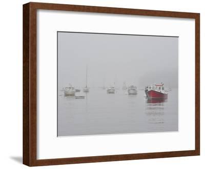 Boats in Rockport Harbor Shrouded in Fog