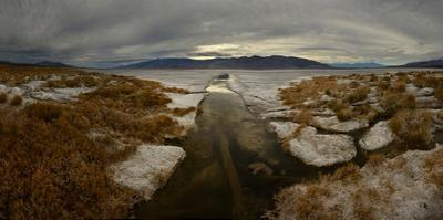 Residual Rainwater in Salt Flats in Death Valley National Park