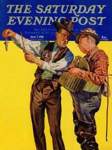 """""""Not a Keeper,"""" Saturday Evening Post Cover, June 7, 1941 by Rauschert J. Karl"""