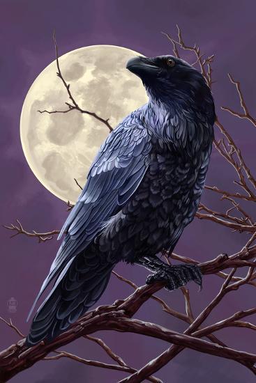 Raven and Moon Purple Sky-Lantern Press-Art Print