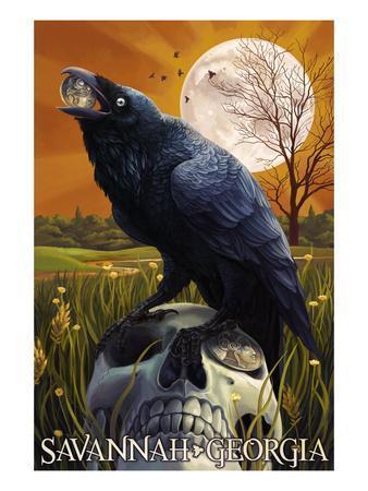 Raven and Moon - Savannah, GA-Lantern Press-Art Print