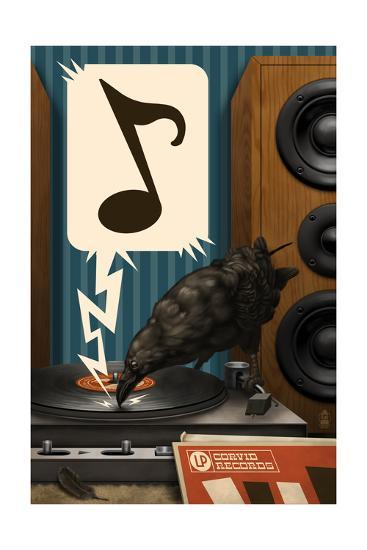 Raven and Record Player-Lantern Press-Art Print