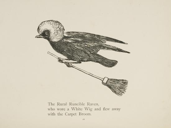 Raven Flying On a Broom, Nonsense Botany Animals and Other Poems Written and Drawn by Edward Lear-Edward Lear-Giclee Print
