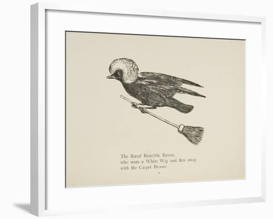 Raven Flying On a Broom, Nonsense Botany Animals and Other Poems Written and Drawn by Edward Lear-Edward Lear-Framed Giclee Print