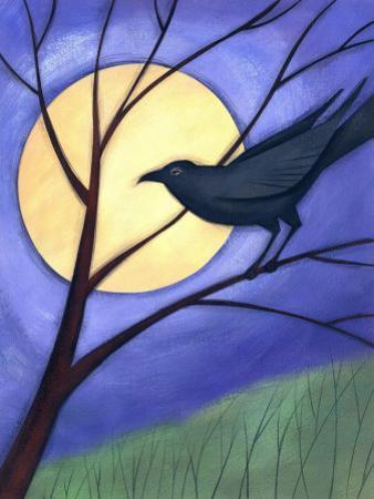 Raven in Tree by Moonlight
