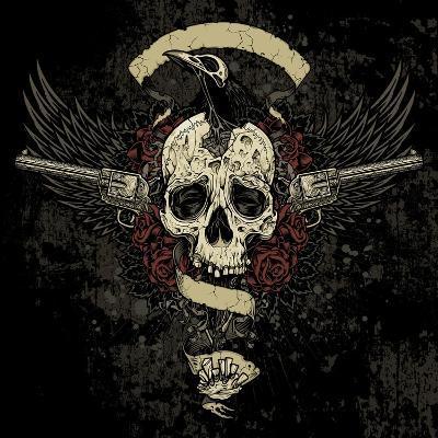 Raven Skull Collage- vectorbomb-Art Print