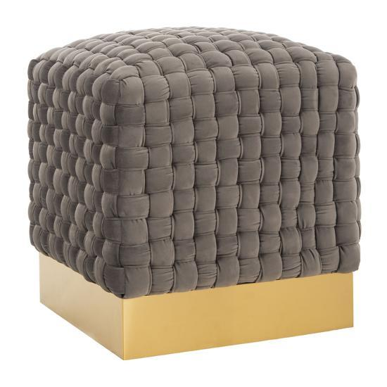 Ravyn Woven Velvet Ottoman--Home Accessories