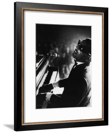 Ray Charles Playing Piano in Concert-Bill Ray-Framed Premium Photographic Print