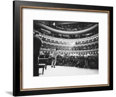 Ray Charles Singing, with Arms Outstretched, During Performance at Carnegie Hall-Bill Ray-Framed Premium Photographic Print
