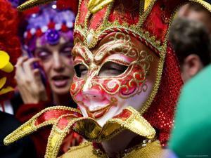 Person in Venetian Mask, New Orleans Mardi Gras by Ray Laskowitz