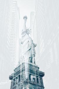 Double Exposure of the Statue and Street by RayBond