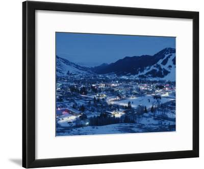 A View of Jackson, Wyoming at Dusk