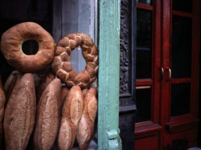 Bread is Displayed in a Store Window