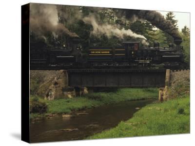 Cass Scenic Railroad Train Crossing a Bridge over a Stream