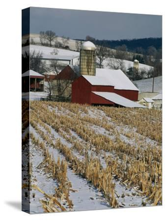 Corn Stubble and Barn in a Wintery Pennsylvania Landscape