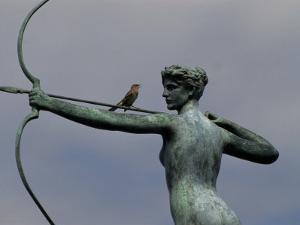 Mockingbird Atop a Bronze Sculpture of Diana by Augustus Saint-Gaudens by Raymond Gehman