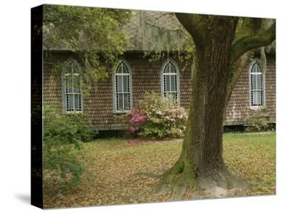 Old Church with Blooming Azaleas, Oak Tree, and Spanish Moss