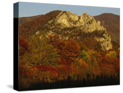 Seneca Rocks,900-Feet-High, with Trees in Autumn Hues