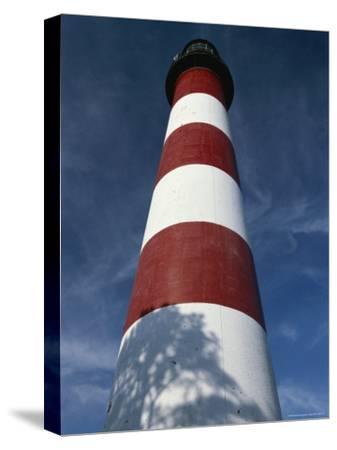 Skyward View of the Assateague Island Lighthouse Against a Blue Sky