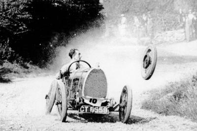 Raymond Mays' Bugatti Loses a Wheel, Early 1930s--Photographic Print