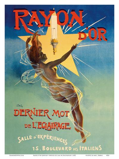 Rayon d'or Gaslight Fixtures - The Last Word in Lighting - Nude Winged Goddess-Jean de Paleologue-Art Print