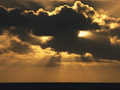 Rays of Sunlight Beam from Behind a Dark Cloud over Water at Twilight-Tim Laman-Photographic Print