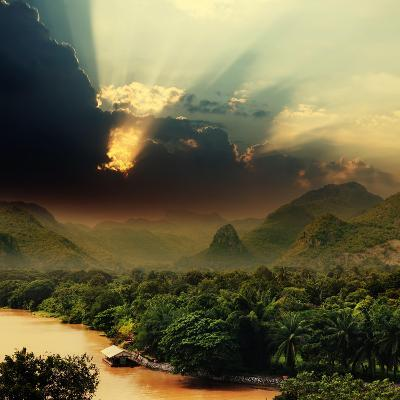Rays on Sky over Khwae Yai River Which Is in Thailand-Sergiy Serdyuk-Photographic Print