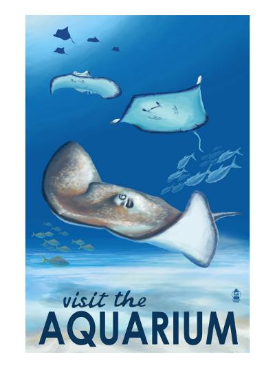 Rays - Visit the Aquarium-Lantern Press-Art Print