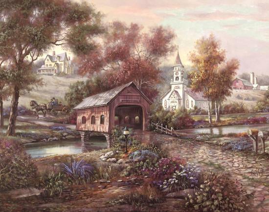 Razzberry Creek Crossing-Carl Valente-Art Print