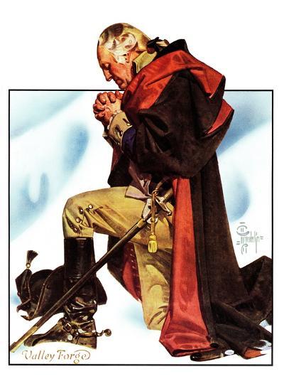 """Re-print of ""George Washington at Valley Forge"","" November 1, 1975-Joseph Christian Leyendecker-Giclee Print"