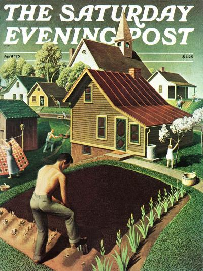 """""""Re print of """"Spring 1942"""","""" Saturday Evening Post Cover, April 18, 1942-Grant Wood-Giclee Print"""