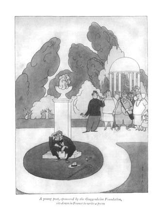 A young poet, sponsored by the Guggenheim Foundation, sits down in France … - New Yorker Cartoon