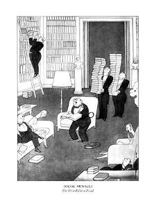 Man with books all over the room has put his guests to sleep by reading fr? - New Yorker Cartoon by Rea Irvin