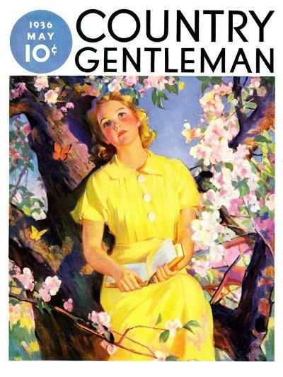 """""""Reading Among the Blossoms,"""" Country Gentleman Cover, May 1, 1936--Giclee Print"""