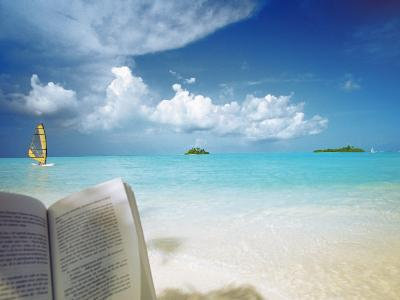 Reading Book on the Beach, Windsurfing and Islands in the Distance, the Maldives, Indian Ocean-Sakis Papadopoulos-Photographic Print