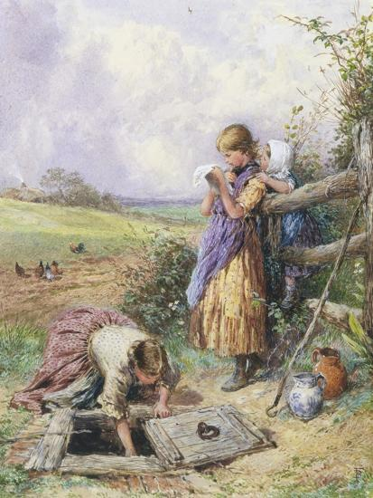 Reading by the Well-Myles Birket Foster-Giclee Print