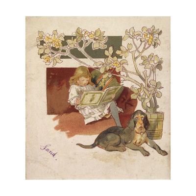 Reading Girl, Bloodhound--Giclee Print