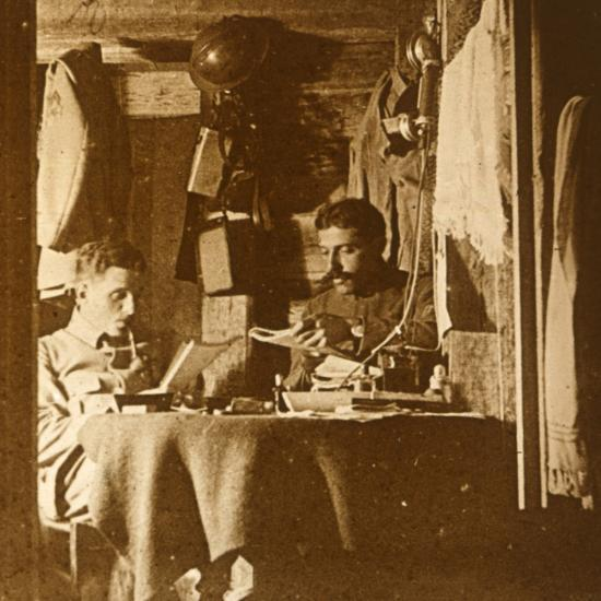 Reading in the trenches, c1914-c1918-Unknown-Photographic Print