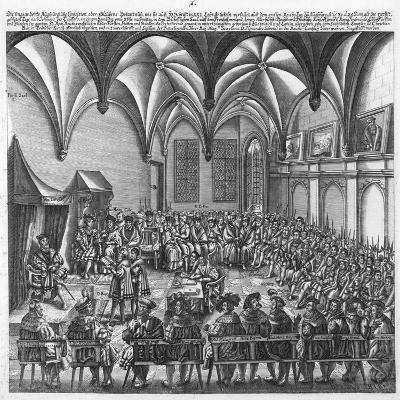 Reading of the Augsburg Confession on 25 June 1530 in the Augsburger Reichstag, C.1530-German School-Giclee Print
