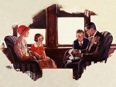 Reading on the Railroad-Dan Content-Giclee Print