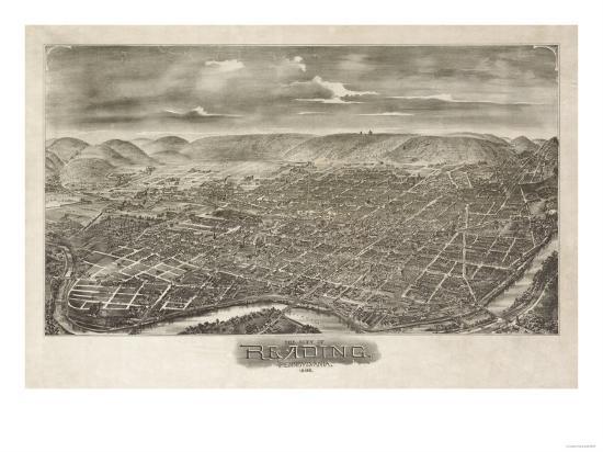 Reading, Pennsylvania - Panoramic Map-Lantern Press-Art Print